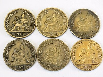 Six France 50 Centimes Chamber Of Commerce Coins 1922, 3-1923, 1925, 1927 (Eg86)