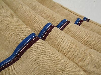 Vtg Antique PLUM PURPLE & BLUE STRIPE HEMP LINEN French FEED SACK GRAIN BAG