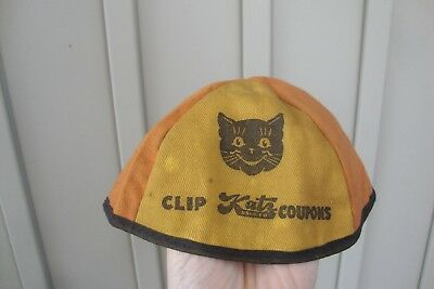 Antique Katz Drug Store Child's Beanie Advertising Fabric Hat Clip Coupons