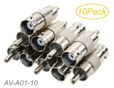 10-Pack BNC Female to RCA Male 75ohm Coaxial Metal Adapter, AV-A01-10