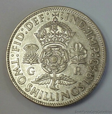 1943 Great Britain 1 Florin .500 Silver Coin Extra Fine