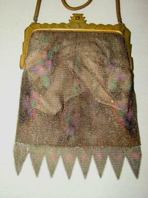 1930s Art Deco MESH PAINTED ENAMEL BAG PURSE, Whiting Davis, Sawtooth Edge