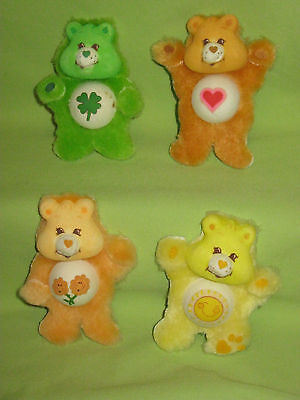 VINTAGE American Greetings 1985 Care Bears STICKLES Furry 3D Stickers LOT of 4