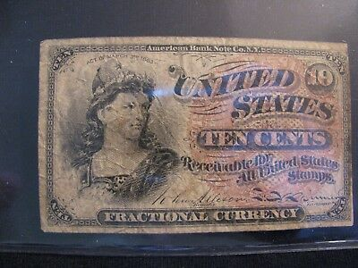 1869 (4Th Issue) 10 Cent Fractional Currency Note  **free Shipping**