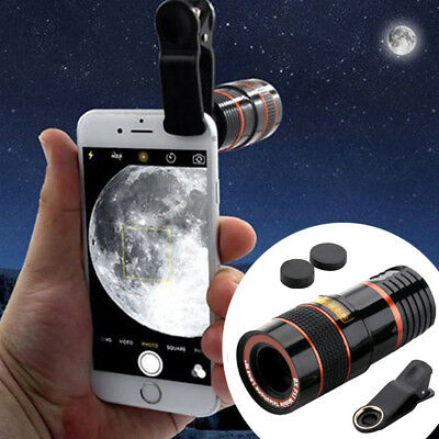 1Clip-on 8x Optical Zoom HD Telescope Camera Lens For Universal Mobile Phone US