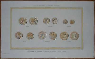 1851 print ROMAN SILVER AND GOLD COINS, ANCIENT ROME (#109)