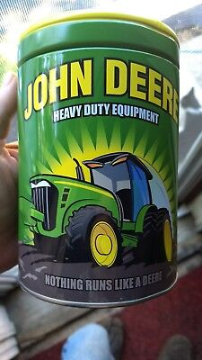 JOHN DEERE Coin Bank The Tin Box Company Round Can Canister COIN BANK