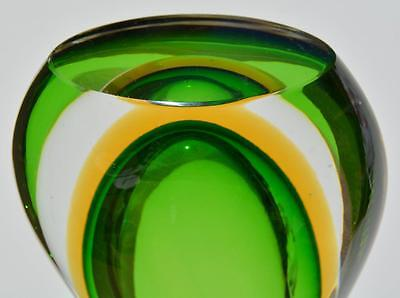 Exquisite 3 Color Vase Crystal Yellow Green Mid Century Orrefors Baccarat vtg