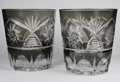 2 Antique Black Cut to Clear Crystal Glass Tumblers Deco Bar Glasses Set Vintage