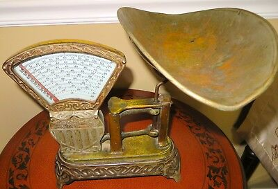 ANTIQUE NATIONAL SPECIALTY Co 2 LB PENNSYLVAINA CANDY SCALE WITH ORNATE BASE