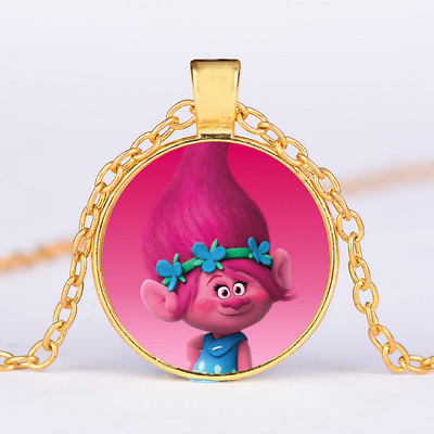 Kids Dreamworks Trolls Silver Necklace Pendant Cartoon Jewelry Toys Gifts Play