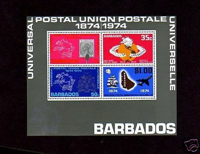 Barbados - 1974 - Upu - Sailing Ship - Jet - Stamp On Stamp - Mint S/sheet!