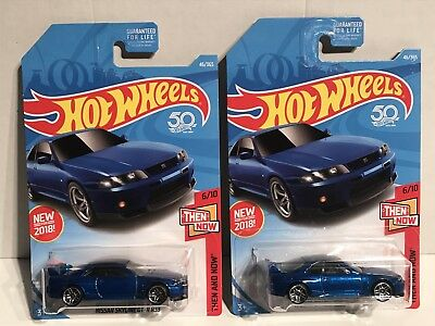 Hot Wheels LOT 2 2018 HW Then And Now 6/10 NISSAN SKYLINE GT-R R33 Blue 46 B NEW