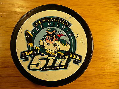 ECHL Pensacola Ice Pilots 5th Anniv Blue Back Hockey Puck Check My Other Pucks