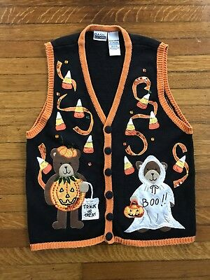 vtg 90s HALLOWEEN Mom Ugly Tacky KNIT Sweater VEST 3D SEWN Patches Stitched M