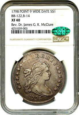 1798 Large Eagle $1 NGC/CAC XF40 (Point 9 Wide Date, B-14, BB-122)