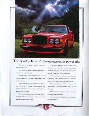 The Bentley Turbo R Quintessential power trip ad 1989