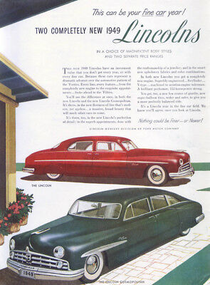 Lincoln this can be Fine car year Cosmopolitan ad 1949