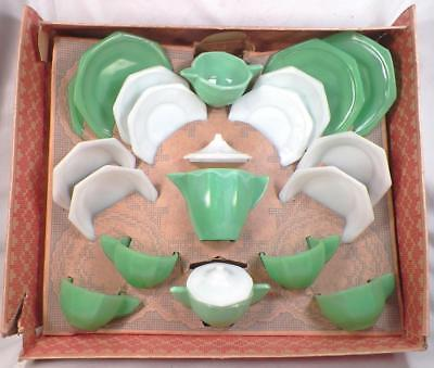 Akro Agate American Maid Tea Set Octagonal 21 Pc Box Vintage Childs Toy Green