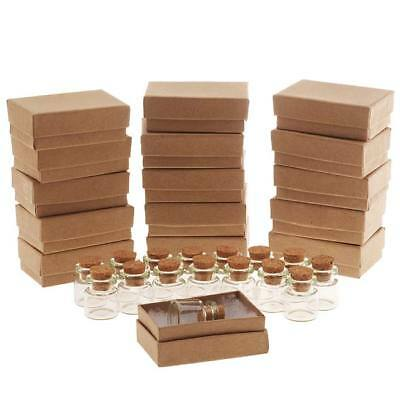 Glass Bottle With Cork 25x22mm And Kraft Brown Jewelry Boxes (16 Each)