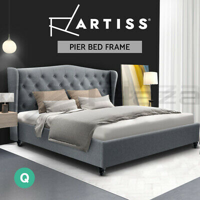 QUEEN Size Bed Frame PIER Fabric Steel Tufted Upholstered Wooden Mattress Grey