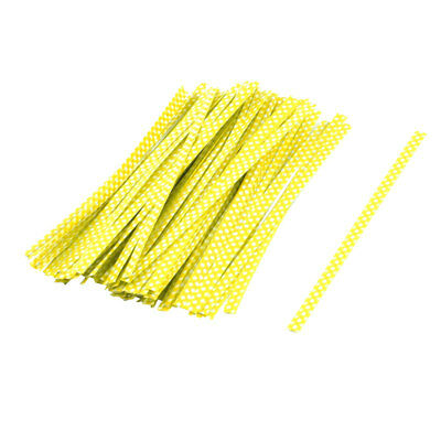 Plastic Dots Pattern Candy Bags Packaging Twist Ties Yellow 10cm Length 100 Pcs