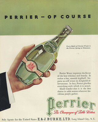 Perrier - Of Course! Champagne of Table Waters ad 1934 F
