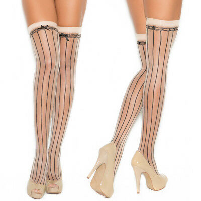 Sexy Women Lingerie Lace Top Hold Ups Bow Detailing Opaque Stockings Hosiery