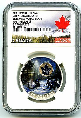 2017 $10 Canada Silver Proof Nhl Ngc Pf70 Toronto Maple Leafs Passion To Play Fr