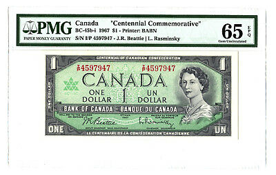 1967 $1 CANADA PMG 65 CENTENNIAL COMMEMORATIVE BC-45b-i BANKNOTE S/N I/P 4597947