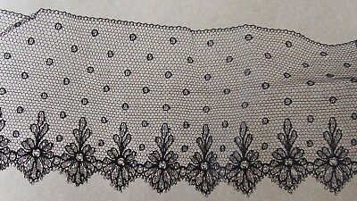 2+ yds Antique Black Silk Embroidered Tulle Net Lace Trim