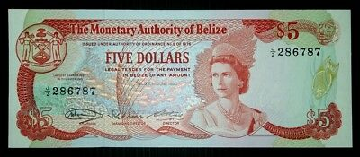 Belize 1980 $5 UNC Note.