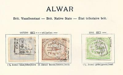 India/ALWAR stamps 1877 Collection of 3 CLASSIC stamps HIGH VALUE!