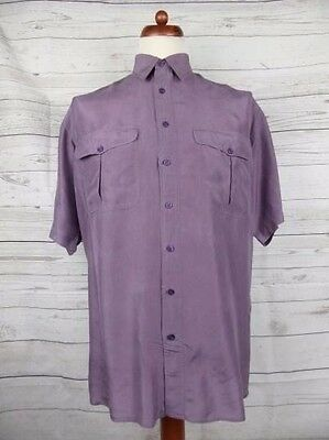 Vtg 90s S-Sleeve Floaty Flouncy Purple Silk Shirt Indie New Wave -M- CZ15