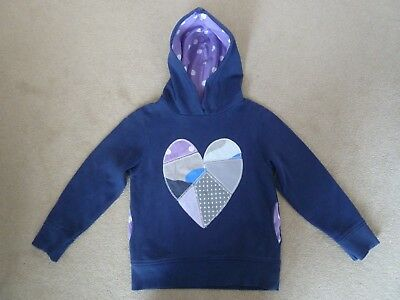 Girls Mini Boden Navy Blue Patchwork Heart Hoodie Sweatshirt Top Age 6-7 Years