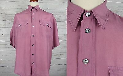 Vtg S-Sleeve Floaty Flouncy Pink Silk Shirt Indie New Wave -M- DE56