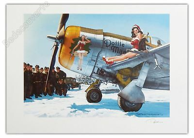 Affiche Romain Hugault Pin-up Avion P47-D Angel Wings Noel Signée 50x70 cm