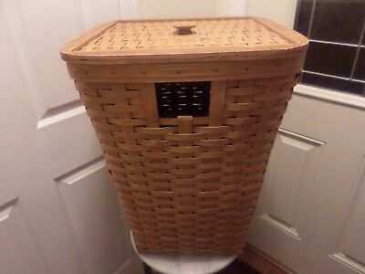 Longaberger Large Hamper Laundry Basket With Wood Lid And Protector