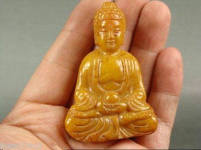 China Old Yellow Jade Handwork Carve Buddha Statue Necklace Pendant