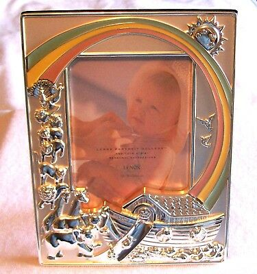 "LENOX  NOAH'S ARK  SILVER PLATED 4"" x 6"" PHOTO FRAME ,WITH ANIMALS AND RAINBOWS"
