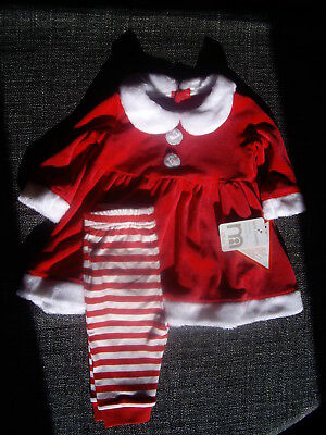 Bnwt Mothercare Christmas Themed Baby Girl Dress/leggings Set Up To 3 Months