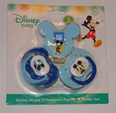 New Disney Baby Mickey Mouse Blue Orthodontic Pacifier Holder Set