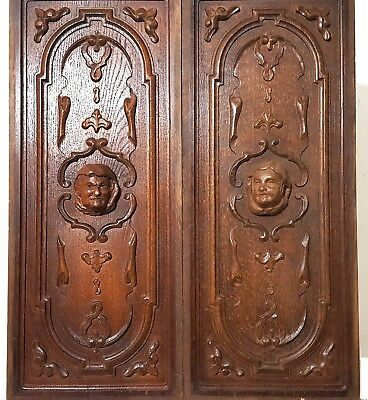 Pair Hand Carved Wood Panel Antique French Gotic Figure Architectural Salvage
