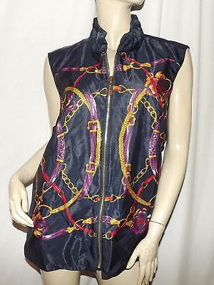 NEW CHARTER CLUB Blue Vest Size 1X NWT Reversible Sateen Zip Front $109
