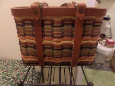 Longaberger Hostess Villager Tote -Multi Color Weave With Protector-Rare