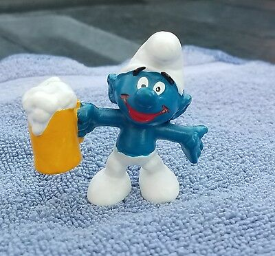 SMURFS Figure 1975 Peyo Holding Pint Of Beer