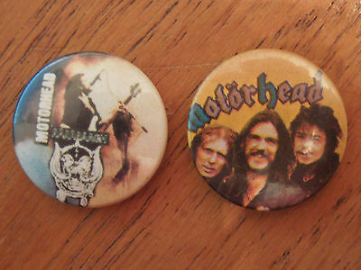 2x Vintage Motorhead Rock Heavy Metal Music Badge - 1980's. 25mm