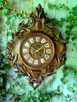 Antique Vintage German Carved Wooden Black Forest  Clock