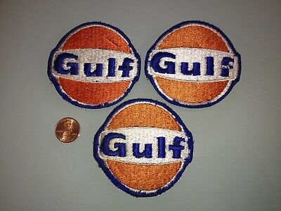 1970's Vintage FACTORY REJECT Gulf Oil PATCH lot of 3 Unused RARE sew on Gas