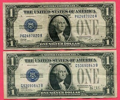 Docs (2) U.S. $1.00 Funny Back Silver Certificates 1928A & 1928B-Nice Circulated